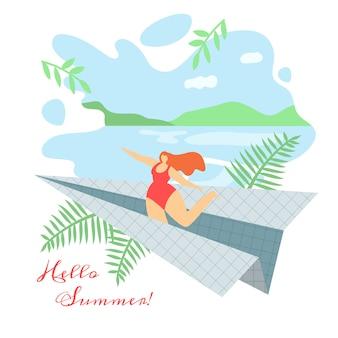 Ilustración hola verano letras plana