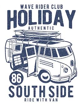 Ilustración de holiday surf van