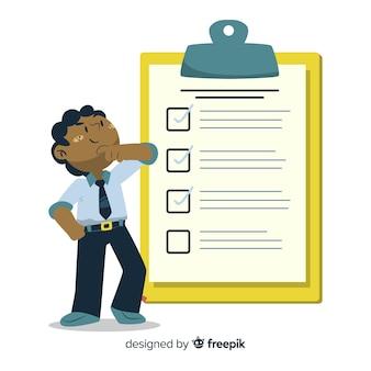 Ilustración hombre analizando lista de comprobación