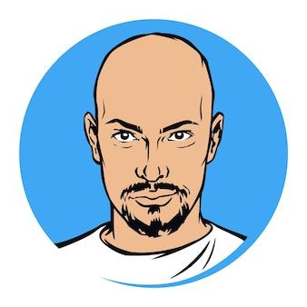 Ilustración de un hombre calvo con barba macho alfa brutal de moda