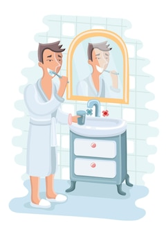 Ilustración de hombre cepillarse los dientes