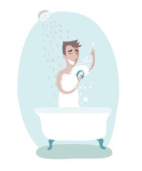 Ilustración del hombre cuidando la higiene personal. tomando una ducha