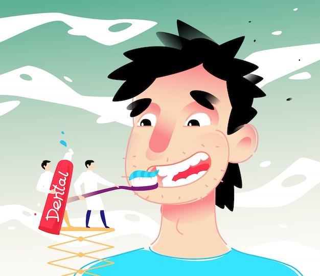Ilustración de un hombre de dibujos animados limpiando los dientes