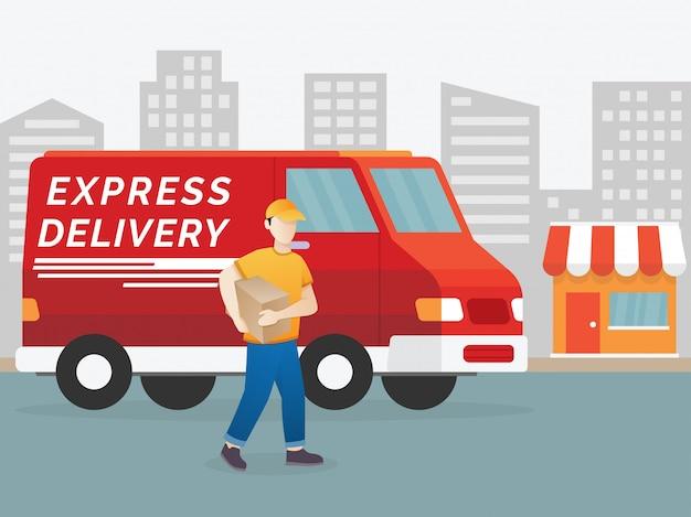 Ilustración de hombre de entrega