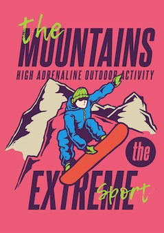 Ilustración de un hombre esquiar saltar alto en la montaña en la temporada de invierno con colores vintage