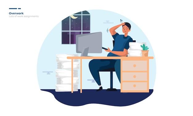 Ilustración de un hombre con exceso de trabajo