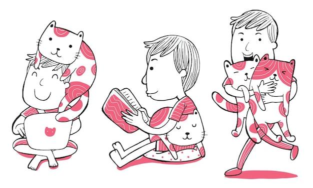 Ilustración de hombre y gatos doodle en estilo de dibujos animados