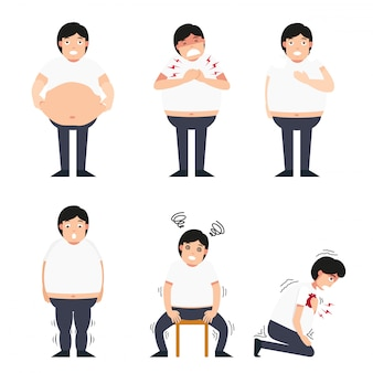 Ilustración del hombre gordo con diversas enfermedades