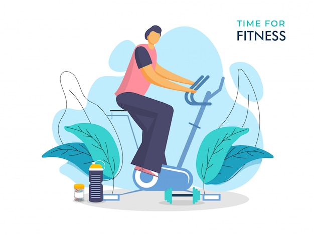 Ilustración del hombre haciendo ejercicio en la máquina de ciclismo