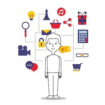 Ilustración de hombre joven con iconos de internet