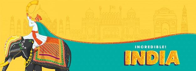 Ilustración del hombre jugando tutari sentarse en el elefante con el dibujo de monumentos famosos sobre fondo amarillo y turquesa para la increíble india.