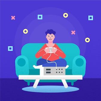 Ilustración del hombre jugando videojuegos