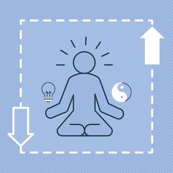 Ilustración de hombre de meditación con flechas