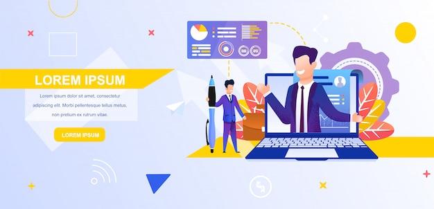Ilustración hombre mirando un blog de negocios en línea