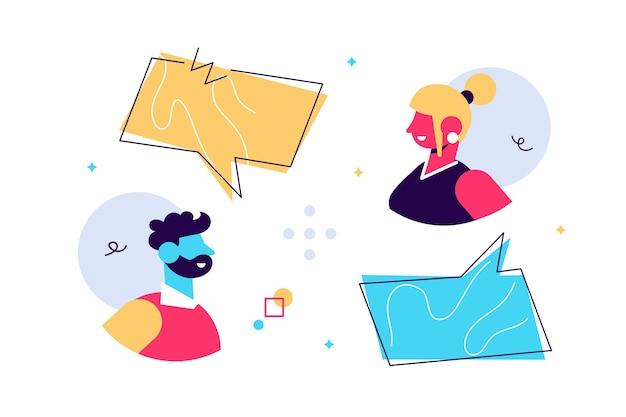 Ilustración de hombre y mujer charlando con burbujas de discurso