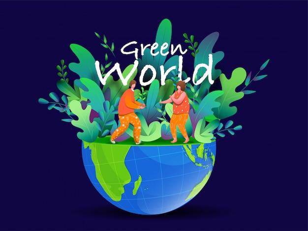 Ilustración del hombre y la mujer de jardinería trabajando en medio mundo ecológico para green world.