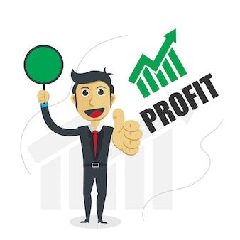 Ilustración de hombre de negocios con el concepto de progreso de ganancias.