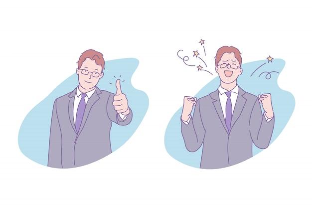 Ilustración de hombre de negocios exitoso