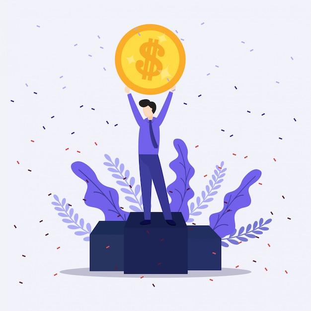 La ilustración del hombre de negocios feliz celebra el éxito que se coloca debajo de los billetes de lluvia del dinero efectivo que cae en fondo azul.