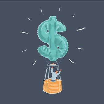 Ilustración de hombre de negocios feliz en globo de aire caliente con icono de dinero sobre fondo oscuro.