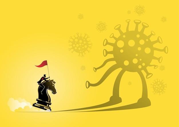 Una ilustración de un hombre de negocios montado en un caballero de ajedrez en concepto de negocio