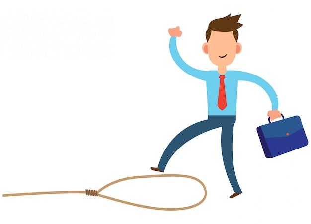 Ilustración de un hombre de negocios que desconoce las trampas que ocurren en su negocio
