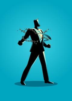Ilustración de un hombre de negocios rompiendo cadenas