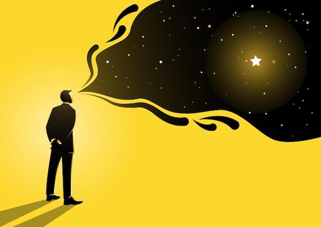 Una ilustración de un hombre de pie con su visión por encima de él como un gran sueño