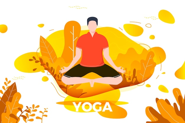 Ilustración - hombre en pose de loto de yoga. parque, bosque, árboles y colinas en el fondo