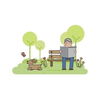 Ilustración de un hombre con su perro