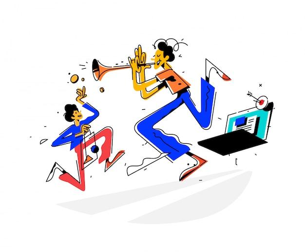 Ilustración de un hombre tocando una trompeta y atrayendo clientes al sitio