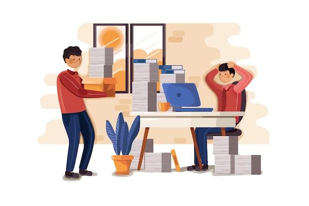 Ilustración de hombre de trabajo duro