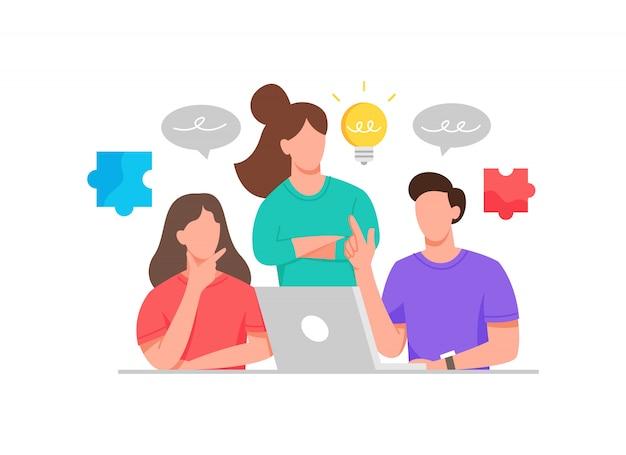 Ilustración hombres y mujeres discuten ideas creativas