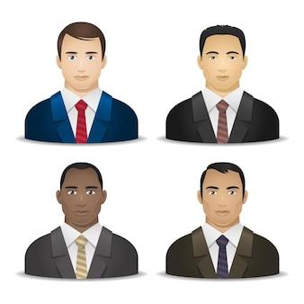 Ilustración, hombres de negocios de diversas nacionalidades, formato eps 10