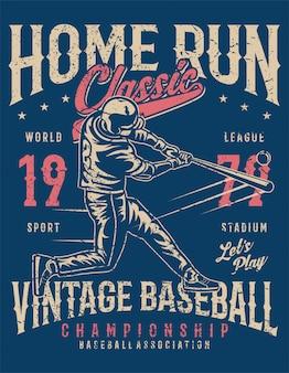Ilustración de home run classic en estilo vintage