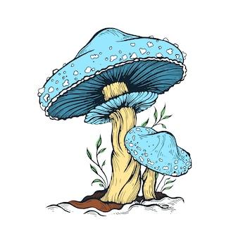 Ilustración de hongo azul