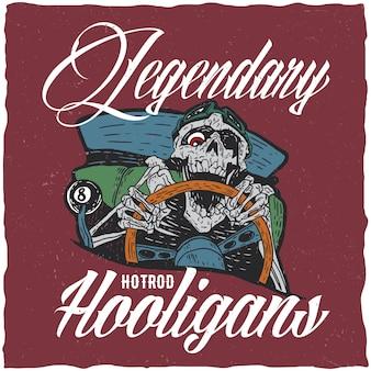 Ilustración de hooligans de hotrod con conductor de hotrod muerto enojado