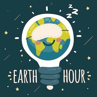 Ilustración de la hora del planeta dibujada a mano con bombilla y planeta durmiendo