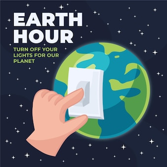 Ilustración de la hora del planeta dibujada a mano con la mano que apaga el interruptor de la luz y el planeta