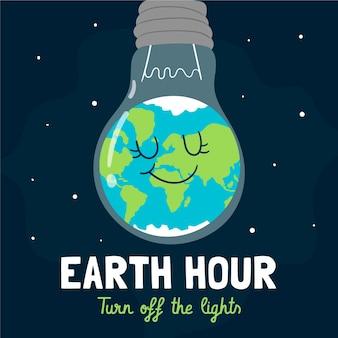 Ilustración de la hora del planeta dibujada a mano con planeta y bombilla