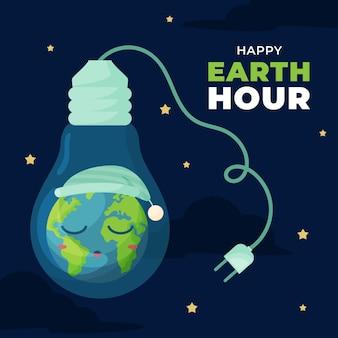 Ilustración de la hora del planeta con planeta y bombilla