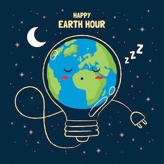 Ilustración de la hora del planeta con planeta durmiendo y bombilla