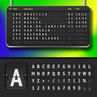 Ilustración del horario del aeropuerto con ciudades brasileñas y alfabeto de marcador