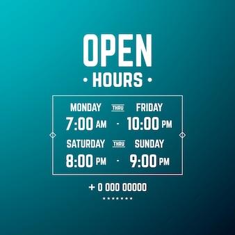 Ilustración de horario de apertura comercial degradado