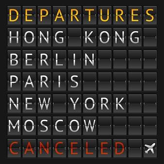 Ilustración horario mecánico aeropuerto de la ciudad aislado en un negro