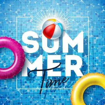 Ilustración de horario de verano con flotador y pelota de playa en el agua de la piscina