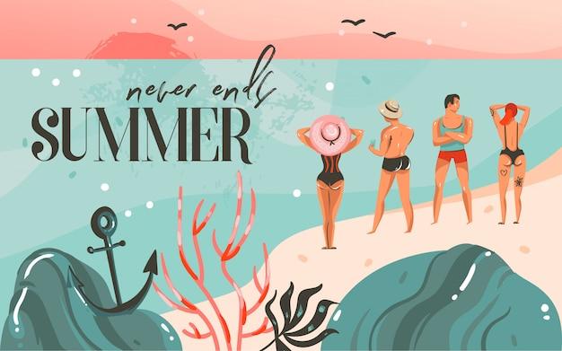 Ilustración de horario de verano, paisaje de playa oceánica, puesta de sol rosa, niños y niñas en la escena de la playa y tipografía de verano nunca termina