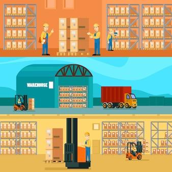 Ilustración horizontal de almacén logístico
