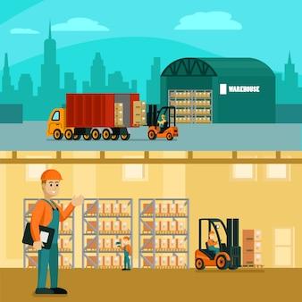 Ilustración horizontal de almacén