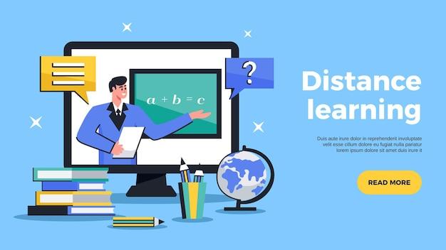 Ilustración horizontal de banner web de aprendizaje a distancia